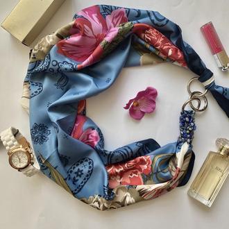 """Шелковый платок  """"Бирюзовые грезы"""" от бренда my scarf, шейный платок, подарок женщине"""