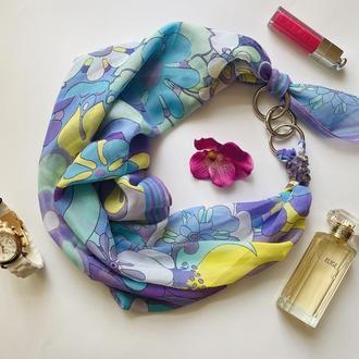 """""""Незабудки"""" шифоновфй платок, шифоновый шарф, шарф-галстук, шарф-ожерелье"""
