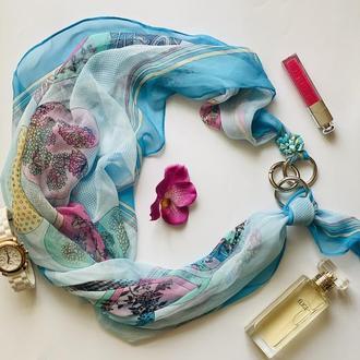 """""""Вдохновение цветом"""" шифоновый шарф, шифоновый платок, шарф-ожерелье, шарф-галстук"""