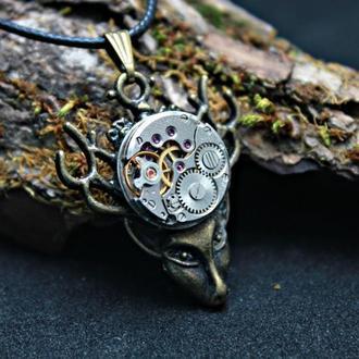 Кулон в стиле стимпанк Кулон олень Украшение на шею с часовым механизмом