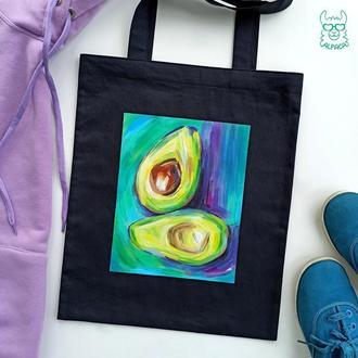 Шоппер, экосумка, роспись, авокадо, шоппер с рисунком