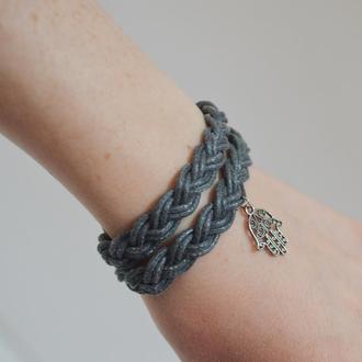 Двойной серый браслет. Плетеный браслет Хамса. Размер регулируется