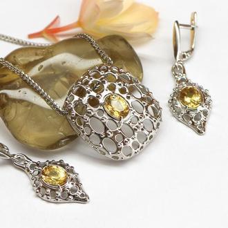 Комплект украшений Паола, кулон и серьги, серебро и цитрин