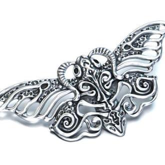 Брошь Мотылек или Бабочка, черненое серебро 925 пробы