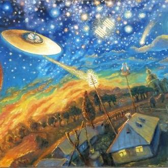 Картина маслом про космос Космічна Україна