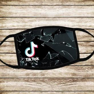 Детская многоразовая  маска Тик Ток (черная)