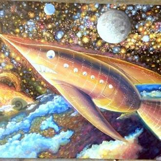 Картина на тему космос фантастика Космическая ракета