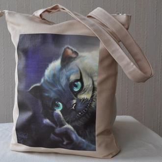 Сумка принт чеширский кот