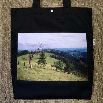 Чёрный шоппер с фото принтом горы Карпаты 2, эко сумка с карманом, сумка для покупок, арт подарок