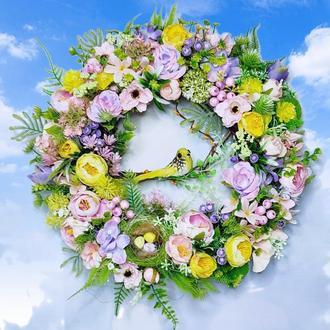 Пасхальный весенний венок декор композиция Весняний великодній вінок