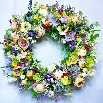 Пасхальный весенний летний венок композиция декор великодній весняний вінок великодня композиція