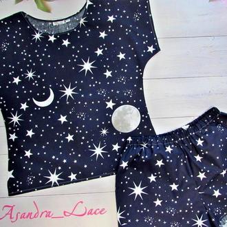 Женская пижама футболка и шорты, пижама хлопок, женская пижама с шортами
