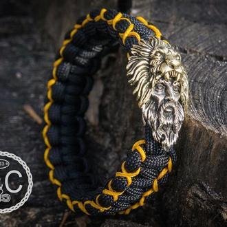 Мужской плетёный браслет из паракорда, Геркулес со львом, ручная работа, латунь, мельхиор