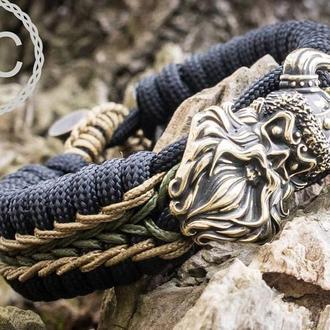 Мужской браслет из паракорда с Викингом, латунь, ручная работа