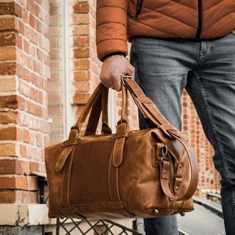 Дорожная коричневая сумка, Спортивная кожаная сумка саквояж мужской