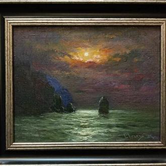 Картина маслом. Місячна ніч. Морський пейзаж.