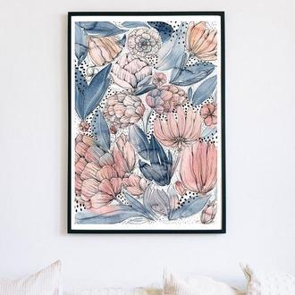 Акварельный постер с голубыми и розовыми цветами