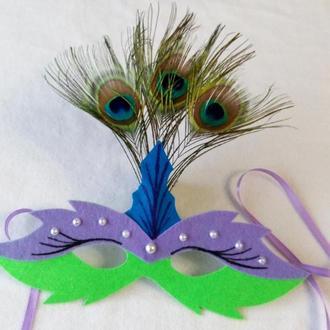 Карнавальная маска Павлин