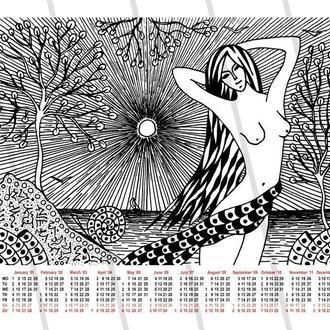 Девушка у моря. Календарь на 2018 год. Принт А3. Авторская техника. Черно-белая графика.