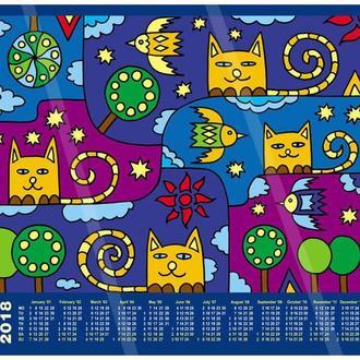 Позитивные коты. Календарь на 2018 год. Принт А3. Авторская графика.