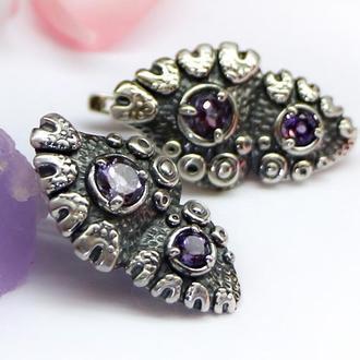 Серебряные серьги Сердечки с натуральными аметистами