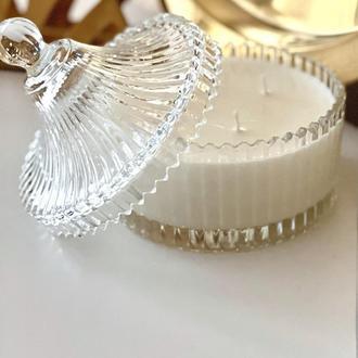 Ароматическая свеча из соевого воска в стеклянной шкатулке