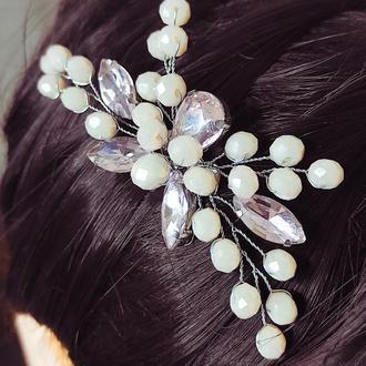 Праздничный гребень для волос (цвет пудра)