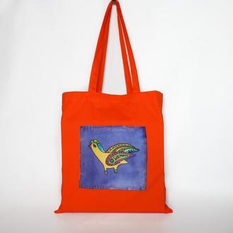 Oранжевая эко сумка с птичкой ручной росписи, шопер продуктовый, яркая хлопковая сумка