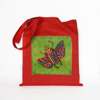 Красная хлопковая эко-сумка с жуком, сумка с ручной росписью, red tote bag, продуктовый шопер