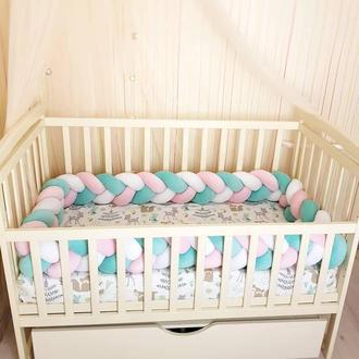 Бортик коса косичка защита бампер в детскую кроватку