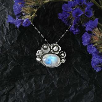 Серебряный кулон с луной, звездами, цветами и лунным камнем. Оригинальный подарок девушке