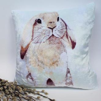 Плюшевая подушка на Пасху, пасхальная подушка Киев, подушка кролик, пасхальный декор, подушка заяц