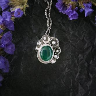 Серебряный кулон с луной, звездами, цветами и зеленым ониксом. Оригинальный подарок девушке