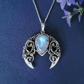 Серебряная Лунница с радужным лунным камнем. Женский кулон талисман. Оригинальный подарок девушке