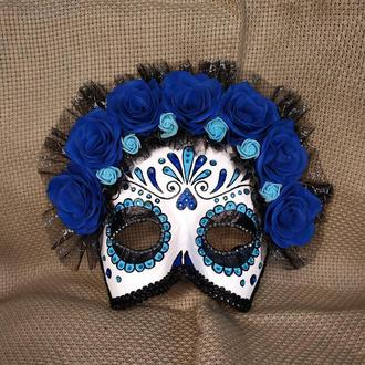 "Карнавальная маска «Santa Muerte» синяя (""Санта Муэрте"")"