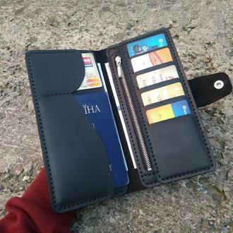 Большой вместительный мужской портмоне,тревел-кейс на молнии из натуральной кожи, кошелек,бумажник