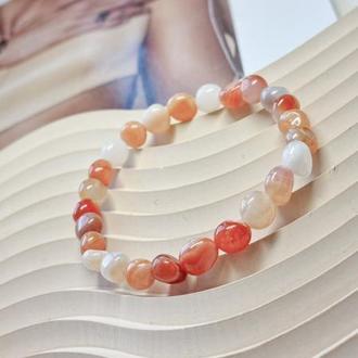 Браслет из натуральных камней, браслет из сардоникса, яркий браслет, весенний браслет