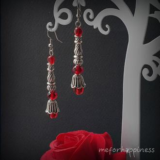 Красные длинные серьги Алая башня