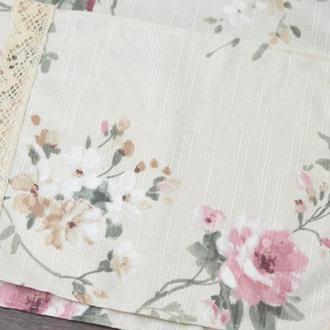 Салфетка на корзину с кружевом 32*22см. розовые цветы