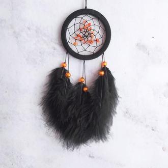 Маленький черный ловец снов с натуральным янтарём / Маленький чорний ловець снів з бурштином