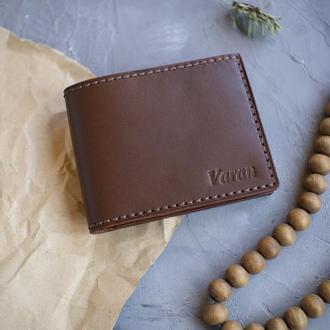 Кожаный кошелёк с именно гравировкой (тиснением) ручной работы