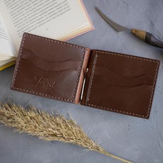 Кожаный коричневый зажим для купюр с гравировкой (тиснением) ручной работы