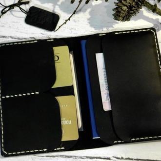 Кожаное портмоне для документов и паспорта . Портмоне для прав с именной гравировкой . Документница