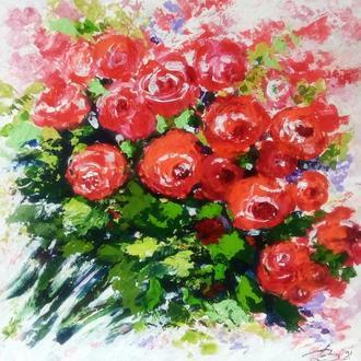 """Картина акрилом импасто """"Розы"""""""