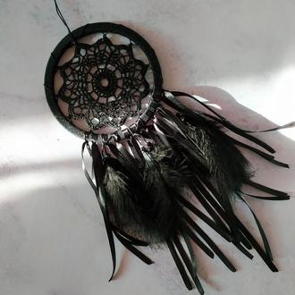 Черный вязаный небольшой ловец снов / Чорний в'язаний невеликий ловець снів