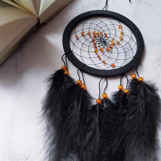 Черный Ловец снов с янтарем / Чорний ловець снів з бурштином