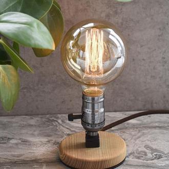 Настольная лампа лофт Декоративная лампа из дерева и металла Подарок ручной работы Подарок маме