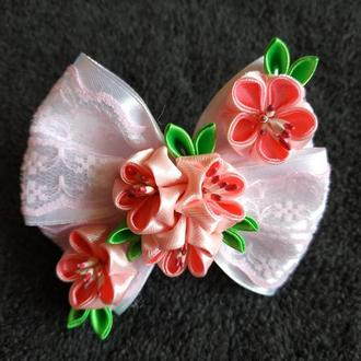 Резинка бант цветущая сакура
