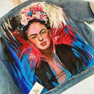 "Denim jacket ""Frida"" hand-painted"