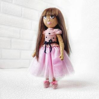 Вязаная интерьерная портретная кукла